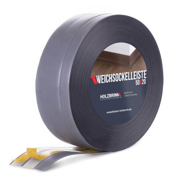 Weichsockelleiste selbstklebend DUNKELGRAU Knickleiste Profil 50x20mm