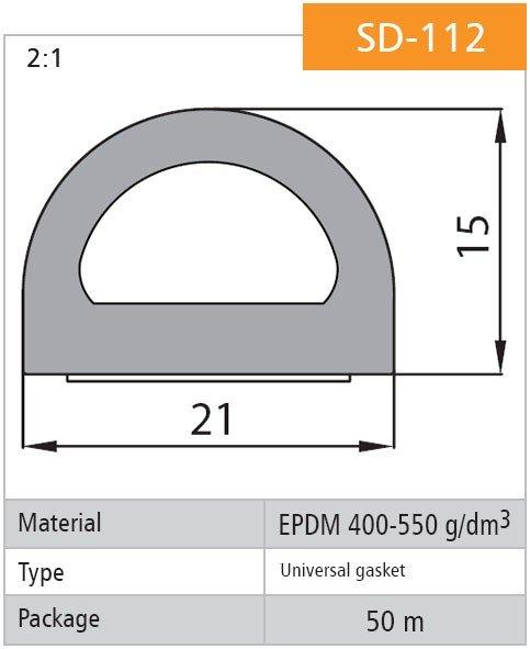 1m Gummidichtung selbstklebend Hohlkammerprofil SD-112 SCHWARZ Hohlkammerdichtung