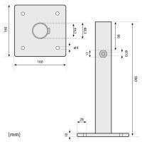 Vorschau: Sonnenschirmständer für Bodenhülse Innendurchmesser 44 mm Verkehrsweiss