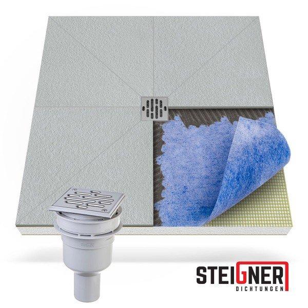 befliesbares Duschelement Duschboard bodeneben Punktablauf SENKRECHT mit Dichtfolie