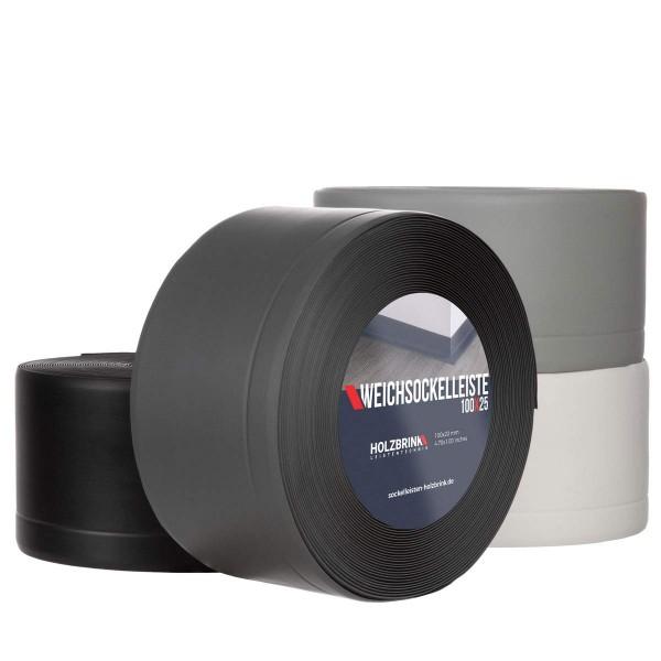 Weichsockelleiste WEISS Knickleiste Profil 100x25mm