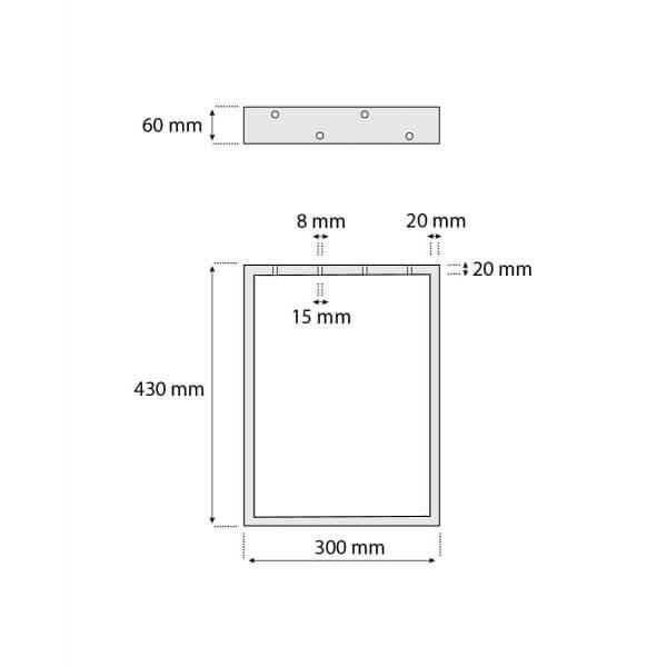 Design Tischkufen aus Vierkantprofilen 60x20 mm, Tischgestell, Tischbeine, 1 Stück, HLT-01-E