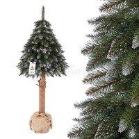 Vorschau: Künstlicher Weihnachtsbaum im Topf FICHTE NATURSTAMM weiß beschneit