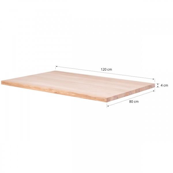 Tischplatte aus Massivholz für Schreibtisch, Esstisch oder Couchtisch, 120x80 cm