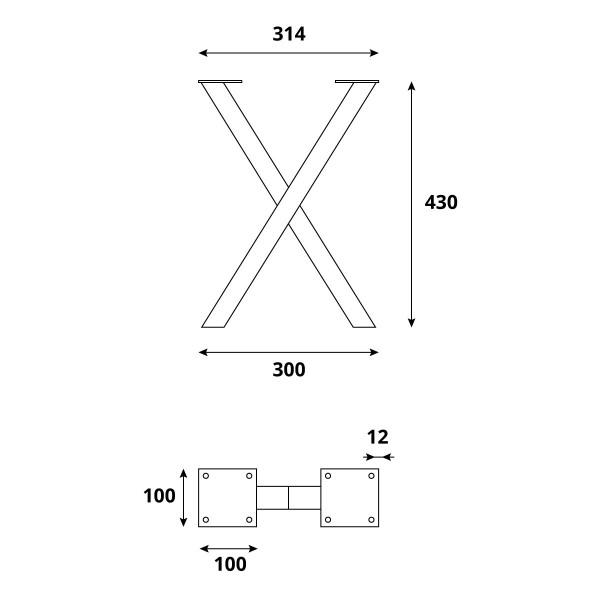 X-Tischbein aus Vierkantprofilen 40x40 mm, Tischkufen X Gestell Industriedesign, 1 Stück, HLT-03-F