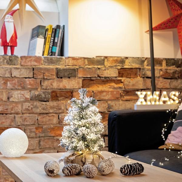 Künstlicher Weihnachtsbaum klein, Fichte Natur-Weiss mit Schneeflocken Mini