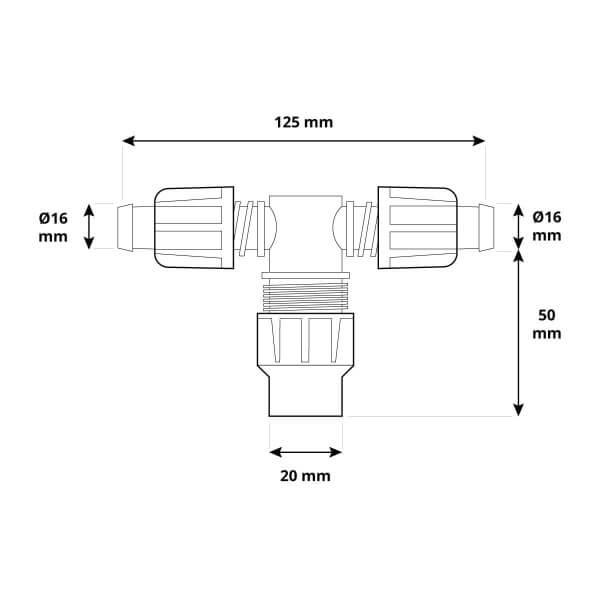 T-Stück 2x 5/8 1x 3/4 Zoll Rohrverbinder für Rohrabzweigung von Verlegerohr oder Tropfschlauch