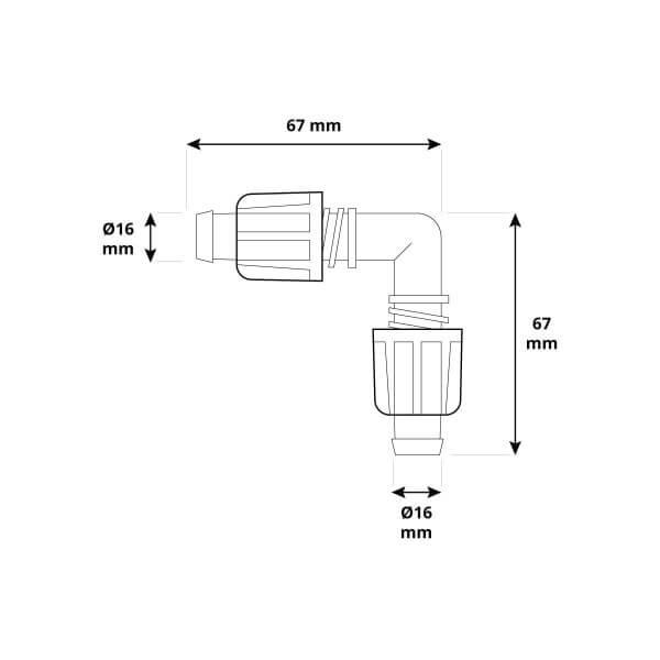 L-Stück 5/8 x 5/8 Zoll Rohrverbinder für Richtungsänderung von Verlegerohr oder Tropfschlauch