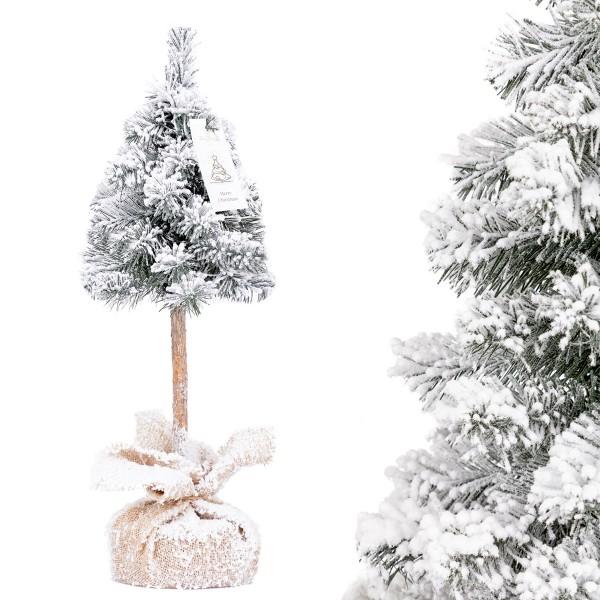 Künstlicher Weihnachtsbaum Premium, Mini Weihnachtsbaum Fichte Naturstamm mit Schneeflocken