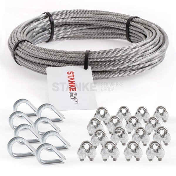 Rankhilfe Seilsystem SET 3: Edelstahlseil + 8x Kausche + 16x Seilklemmen