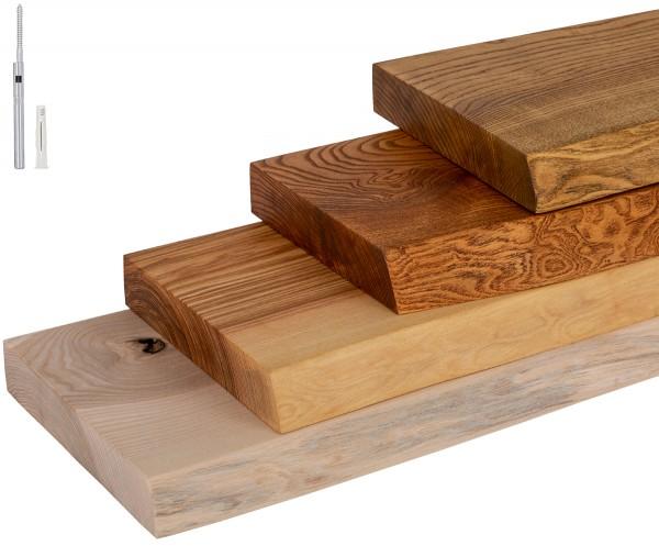 Wandregal Holz Baumkante Wandboard inkl. Tablarträger