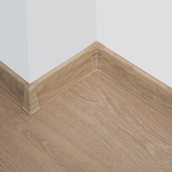 2m Sockelleisten Fussbodenleiste Kunststoff PVC 70mm x 21mm VEO - Eiche Pastell