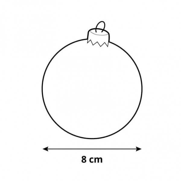Ø 8 cm Weihnachtskugeln für Weihnachtsbaum ROT - 6er-Pack