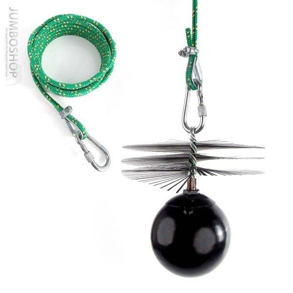 Profi-Set: 8m Seil + Kaminbesen + Zuggewicht + Montagezubehör
