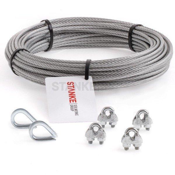 Rankhilfe Seilsystem SET 1: Edelstahlseil + 2x Kausche + 4x Seilklemmen