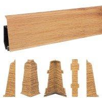 Vorschau: 2m Sockelleisten Fussbodenleiste Kunststoff PVC 70mm x 21mm VEO - Eiche Rustikal