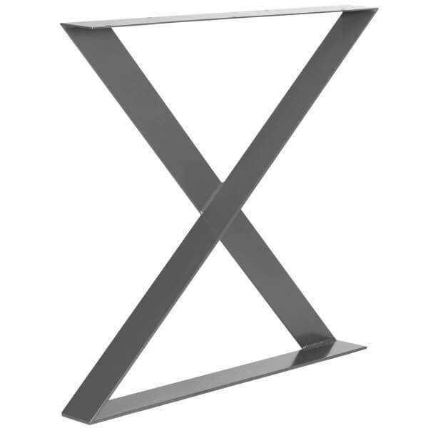 X-Tischbein aus Flacheisen 80x6 mm, Tischkufen X Gestell Stahl Industriedesign, 1 Stück, HLT-04-I