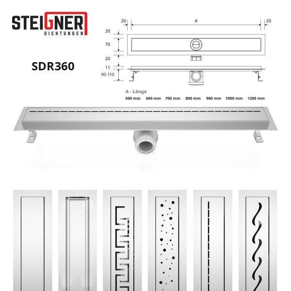 Duschrinne SDR360 Siphon Ablaufrinne Edelstahl Rinne Abflussrinne Duschelement
