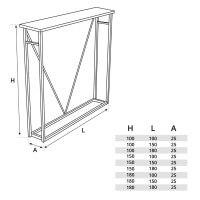 Vorschau: Kaminholzunterstand Stahl Brennholzlager Kaminholzregal Stapelhilfe, Tiefschwarz, HLKH-01