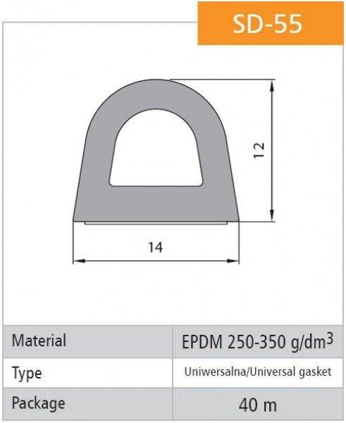 1m Gummidichtung selbstklebend Hohlkammerprofil SD-55 WEISS Hohlkammerdichtung
