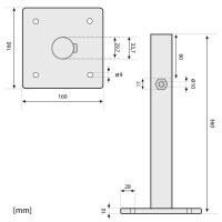 Vorschau: Sonnenschirmständer für Bodenhülse Innendurchmesser 29 mm Verkehrsweiss