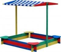 Vorschau: Sandkasten überdacht 4-Eck mit 4 Sitzen Sandkiste Sandbox
