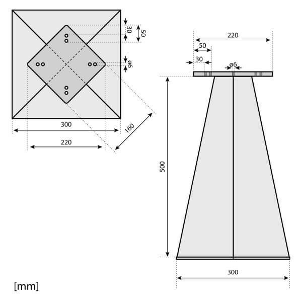 Bodenhülse mit Montageplatte für Ampelschirm Sonnenschirm RAL 9016 Verkehrsweiß