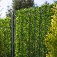 """Vorschau: Zaunblende Hellgrün """"GreenFences"""" Balkonblende für 80 cm hohen Zaun / Balkon Sichtschutz Pflanze"""