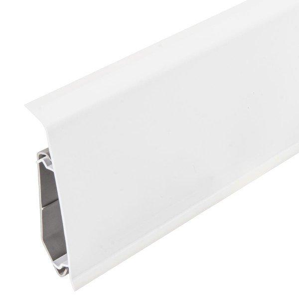2m Sockelleisten Fussbodenleiste Kunststoff PVC 70mm x 21mm VEO - Weiß