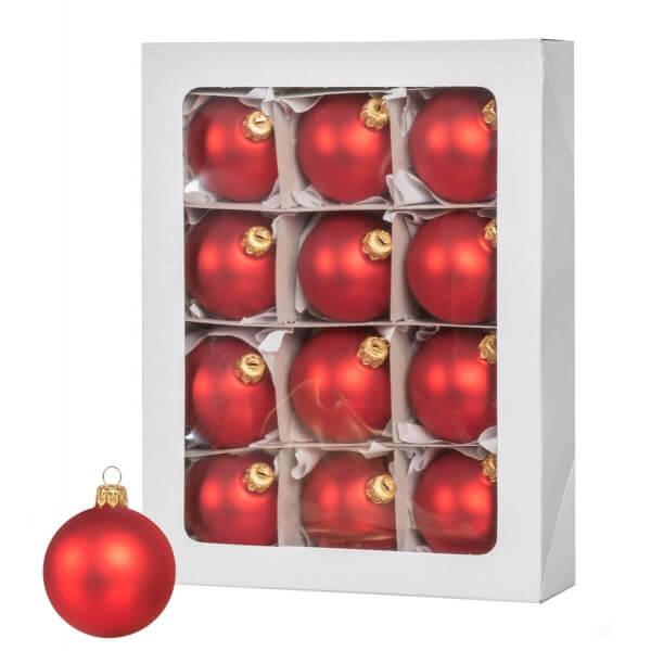 Ø 6 cm Weihnachtskugeln für Weihnachtsbaum ROT - 12er-Pack