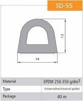 Vorschau: 1m Gummidichtung selbstklebend Hohlkammerprofil SD-55 WEISS Hohlkammerdichtung
