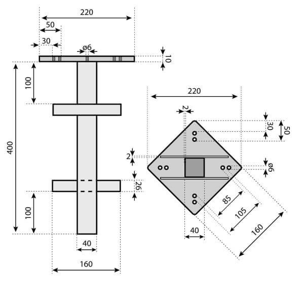 Bodenhülse mit Montageplatte für Sonnenschirm Ampelschirm RAL 9016 Verkehrsweiss