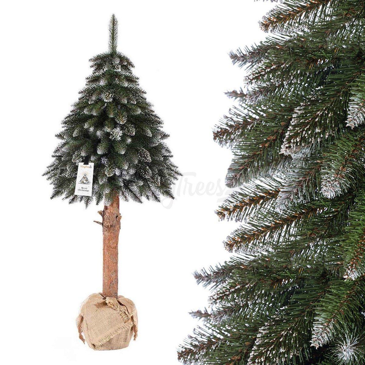 k nstlicher weihnachtsbaum im topf fichte naturstamm wei. Black Bedroom Furniture Sets. Home Design Ideas