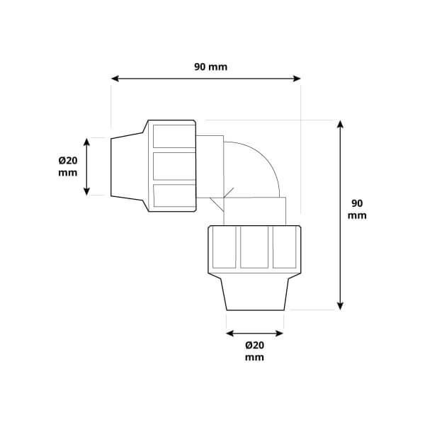 L-Stück 3/4 x 3/4 Zoll 20x20 mm Rohrverbinder für Richtungsänderung des Verlegerohrs