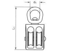 Vorschau: Doppelseilrolle 1 Zoll Seilrolle doppelt