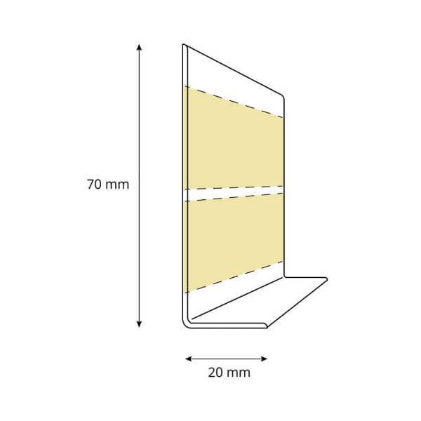 Weichsockelleiste SCHWARZ Knickleiste Profil 70x20mm