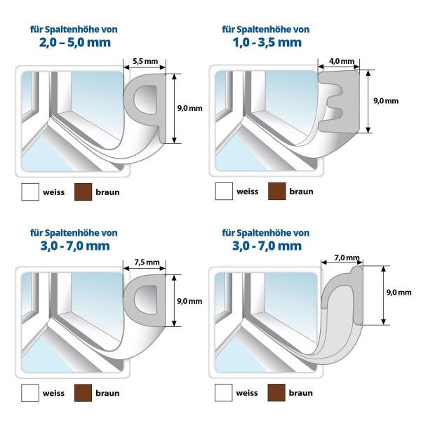 Fensterdichtung Gummidichtung selbstklebend braun P-Profil