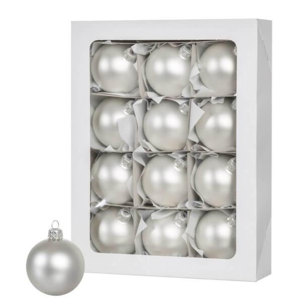 Ø 6 cm Weihnachtskugeln für Weihnachtsbaum SILBER - 12er-Pack