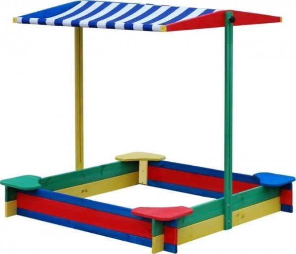 Sandkasten überdacht 4-Eck mit 4 Sitzen Sandkiste Sandbox