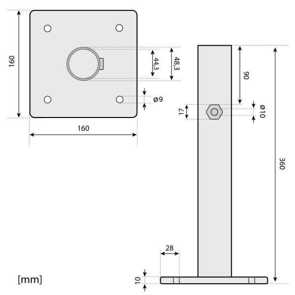 Sonnenschirmständer für Bodenhülse Innendurchmesser 44 mm Tiefschwarz