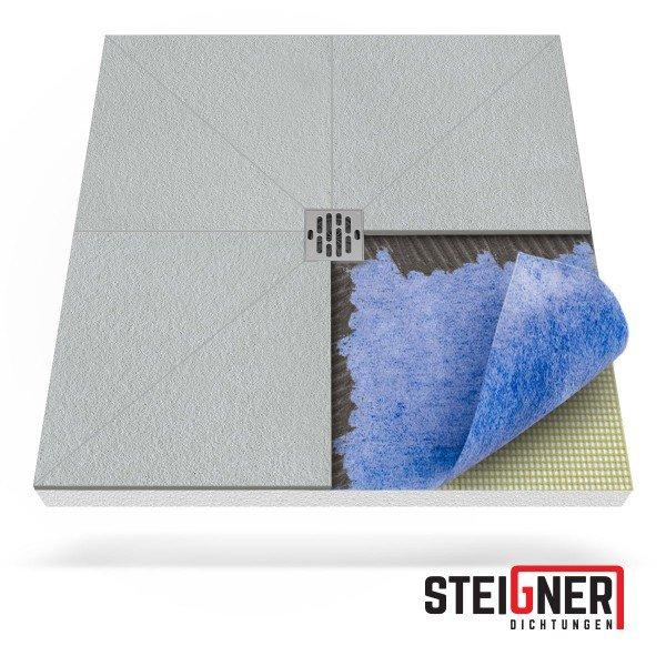 befliesbares Duschelement Duschboard bodeneben Punktablauf mit Dichtfolie