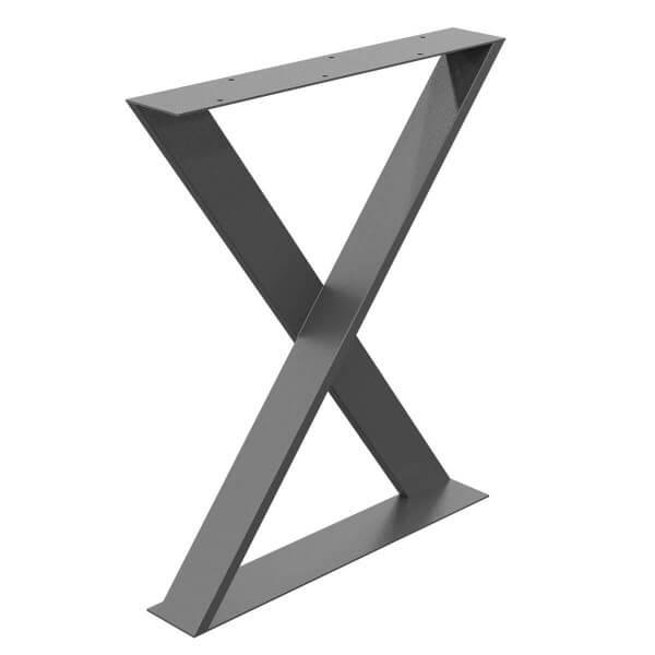 X-Tischbein aus Vierkantprofilen und Flacheisen 100x3 mm, Tischkufen X Gestell, 1 Stück, HLT-04-I