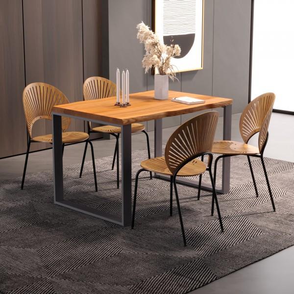 LAMO Manufaktur Schreibtisch Esstisch mit Baumkante 120x80x76 cm