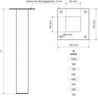 Vorschau: Tischbein Eckig, Möbelfuß aus Stahl, Quadratrohr 40x40 mm, Industriedesign, HLT-14A-F