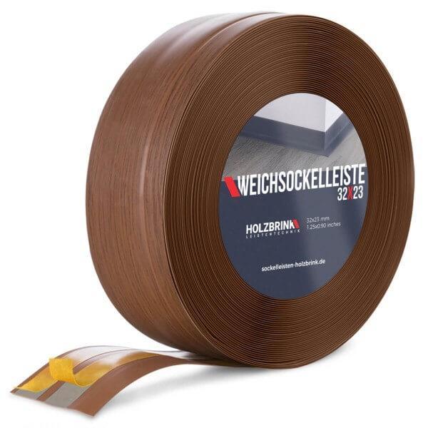 Weichsockelleiste selbstklebend EICHE DUNKEL Knickleiste Profil 32x23mm