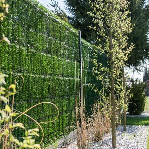 """Zaunblende Hellgrün """"GreenFences"""" Balkonblende für 150cm hohen Zaun / Balkon Sichtschutz Pflanzen"""