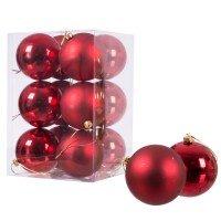 Vorschau: Ø 8 cm Weihnachtskugeln für Weihnachtsbaum ROT - 12er-Pack , B-Ware