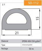 Vorschau: 1m Gummidichtung selbstklebend Hohlkammerprofil SD-112 SCHWARZ Hohlkammerdichtung