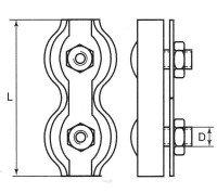 Vorschau: Duplexklemme 4mm Drahtseilklemme verzinkt Seilklemme