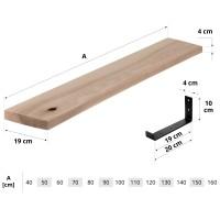 Vorschau: Wandregal mit gerader Kante inkl. schwarzer Regalhalterung aus Metall